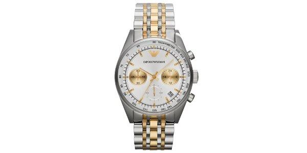 Pánske strieborno-zlaté hodinky Emporio Armani