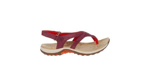 Dámske vínové sandále s červenými prvkami Merrell