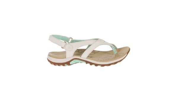 Dámske svetlé sandále so zelenými prvkami Merrell