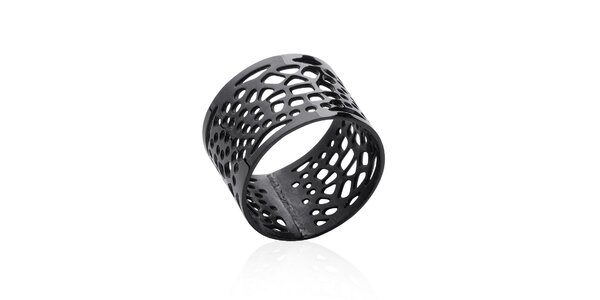 Dámsky čierny filigránový prsteň La Mimossa