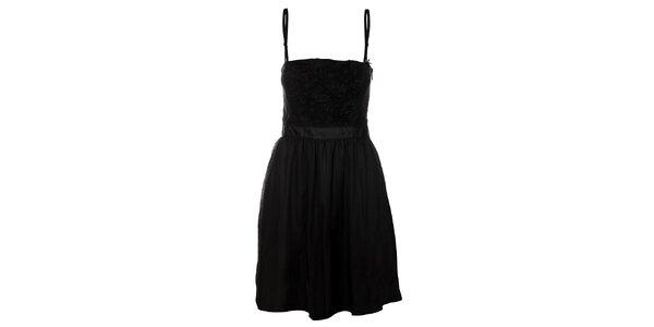 Dámske čierne hodvábne korzetové šaty Miss Sixty