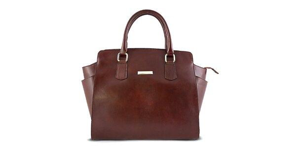 Dámska hnedá hladká kožená kabelka Roberto Buono