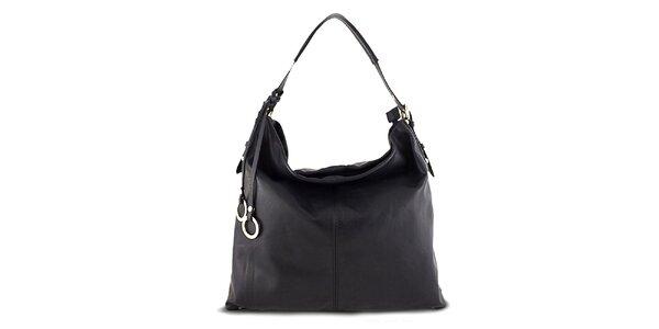 Dámska čierna kabelka s ozdobnými krúžkami Roberto Buono
