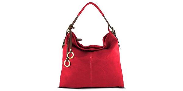 Dámska červená kabelka s ozdobnými krúžkami Roberto Buono