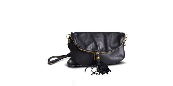 Dámska čierna kožená listová kabelka Roberto Buono