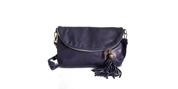 Dámska modrá kožená listová kabelka Roberto Buono