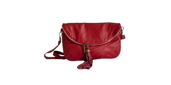 Dámska červená kožená listová kabelka Roberto Buono