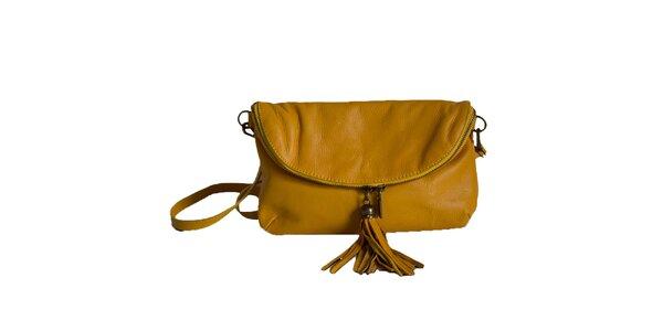 Dámska žltá kožená listová kabelka Roberto Buono