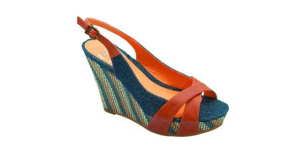 Dámske modro-hnedé sandálky Elisabeth