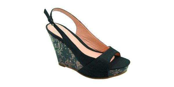 Dámske čierne sandálky s čipkou Elisabeth