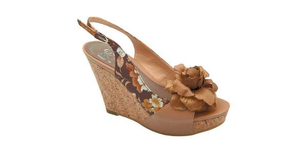 Dámske hnedé sandálky s kvetinou Elisabeth