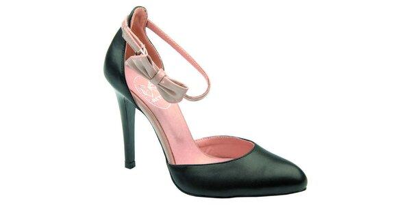 Dámske čierne sandálky s ružovou mašľou Betsy