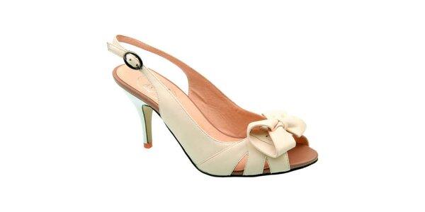 Dámske krémové sandálky s mašľou Elisabeth