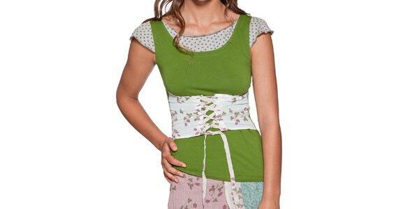 Dámske zelené tričko so šnurovačkou Ian Mosh