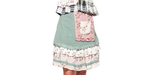Dámska zelená sukňa s volánikmi a vreckom Ian Mosh