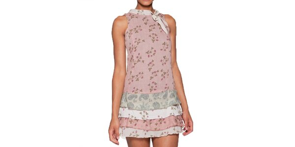 Dámske ružové minišaty s vrstvenou sukňou Ian Mosh