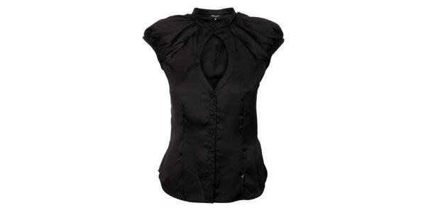 Dámska čierna hodvábna košeľa Miss Sixty s velkým priestrihom