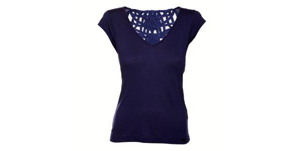 Dámske tmavo modré tričko Miss Sixty s čipkovým chrbtom