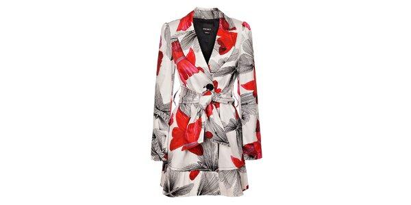 Dámsky biely kabát Miss Sixty s potlačou motýlov
