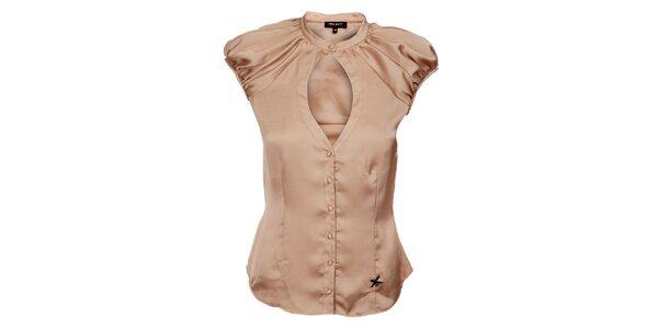 Dámska béžová hodvábna košeľa Miss Sixty s velkým priestrihom