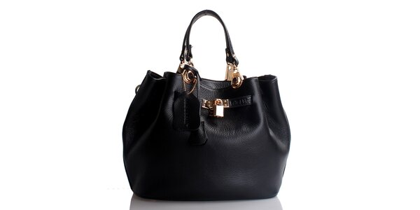 Dámska čierna kožená kabelka so zámčekom Belle & Bloom
