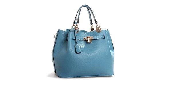 Dámska svetlo modrá kožená kabelka so zámočkom Belle & Bloom
