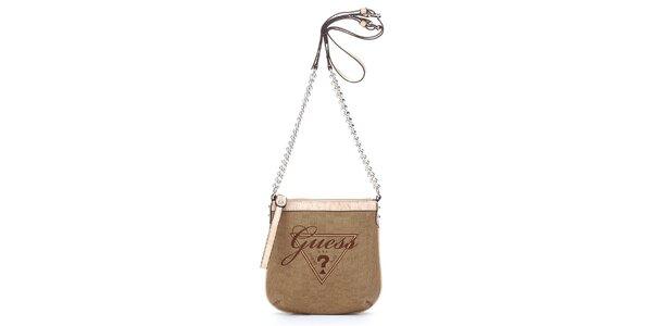 Dámska hnedo-béžová mini kabelka Guess s retiazkou