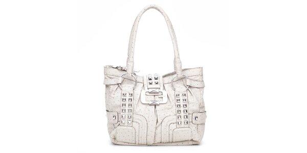 Dámska krémová kabelka Guess s kovovými pyramidkami