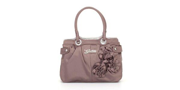 Dámska nugátově hnedá kabelka Guess s ružami