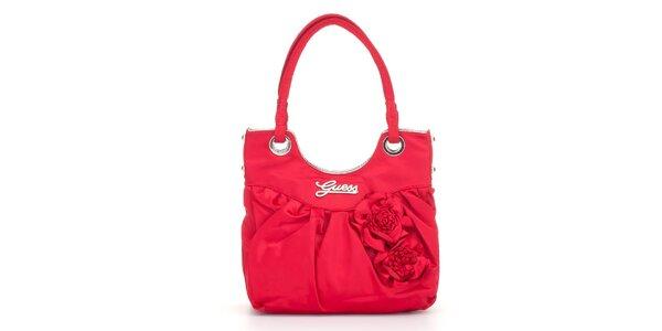 Dámska sytě červená kabelka Guess s ružami