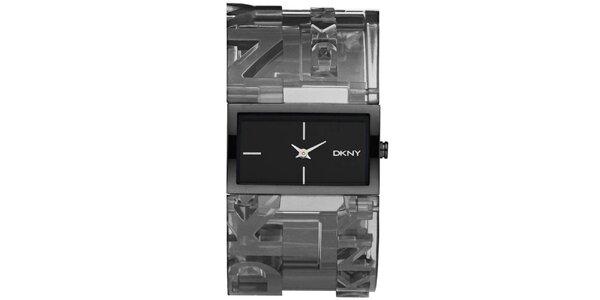 Dámske tmavé náramkové hodinky s obdĺžnikovým ciferníkom DKNY