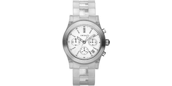 Dámske hodinky s transparentným remienkom a chronografom DKNY
