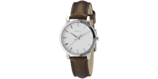 Dámske okrúhle hodinky s hnedým remienkom DKNY