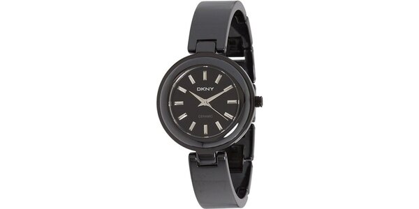 Dámske čierne keramické hodinky DKNY