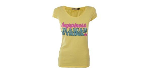 Dámske žlté tričko Gas s trblietavým nápisom