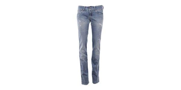 Dámske modré džínsy s predreninami Gas