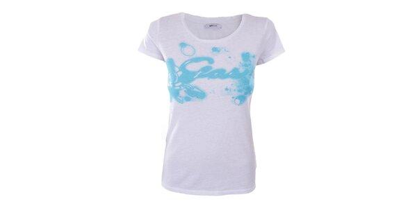 Dámske biele tričko s modrým vzorom Gas