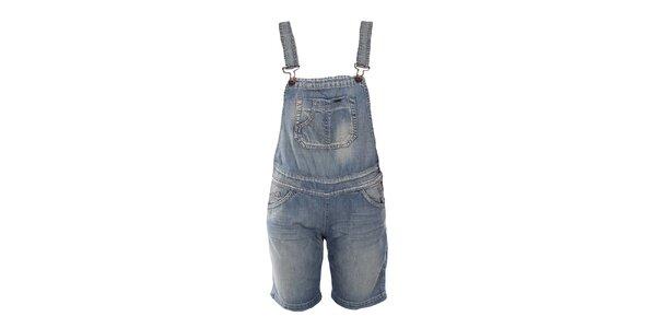 Dámske modré džínsové kraťasy s trakmi Gas