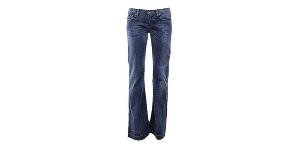 Dámske modré zvonové džínsy Gas