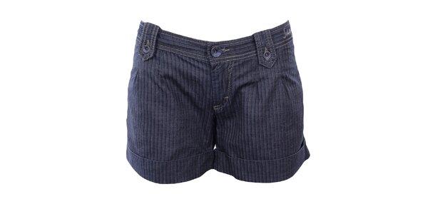 Dámske modré šortky so vzorom rybej kosti Gas