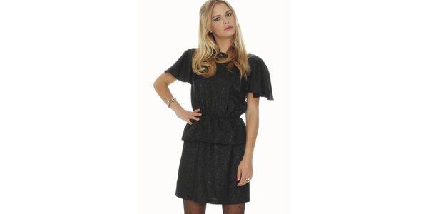 Dámske čierne lesklé šaty s voľným chrbátom Pepa Loves