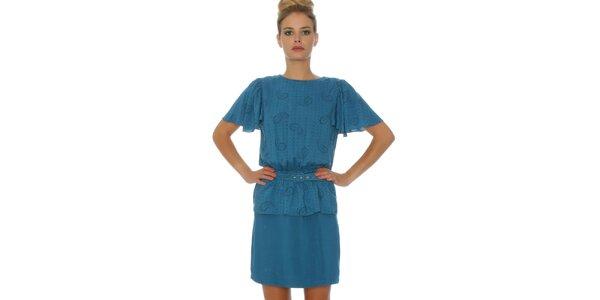 Dámske modré šaty so vzorovaným vrškom Pepa Loves