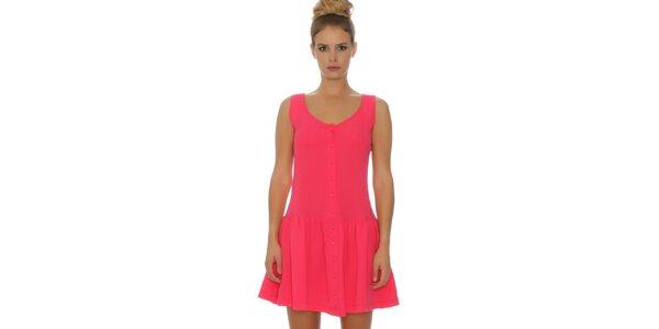 Dámske ružové šaty s gombíkmi Pepa Loves