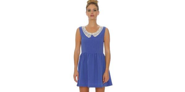 Dámske modré šaty s čipkovaným límčekom Pepa Loves