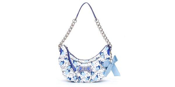 Dámska modro-biela kabelka Guess so srdiečkami