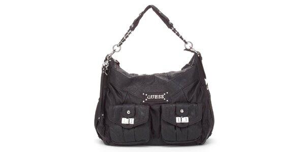 Dámska čierna kabelka Guess s dvomi vreckami