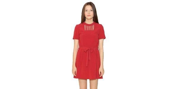 Dámske červené šaty s mašľou v páse Pepa Loves