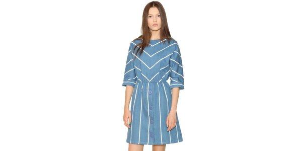 Dámske modré šaty s prúžkami Pepa Loves