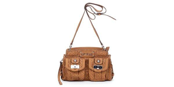 Dámska malá orieškovo hnedá kabelka Guess s dvomi vreckami