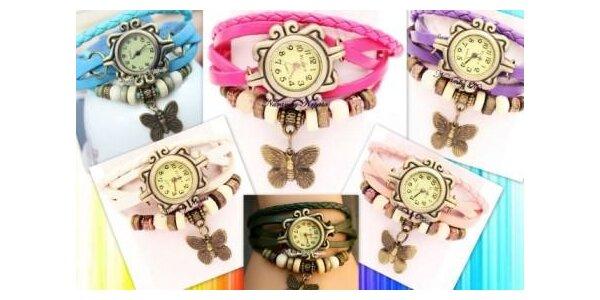 Retro hodinky v lených farbách s motýlikom